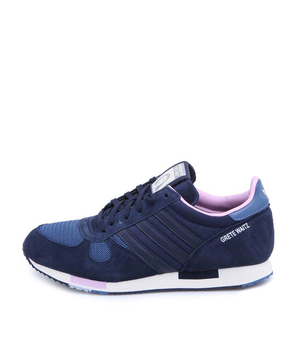 Tmavě modré dámské tenisky s koženými detaily adidas Originals Grete Waitz
