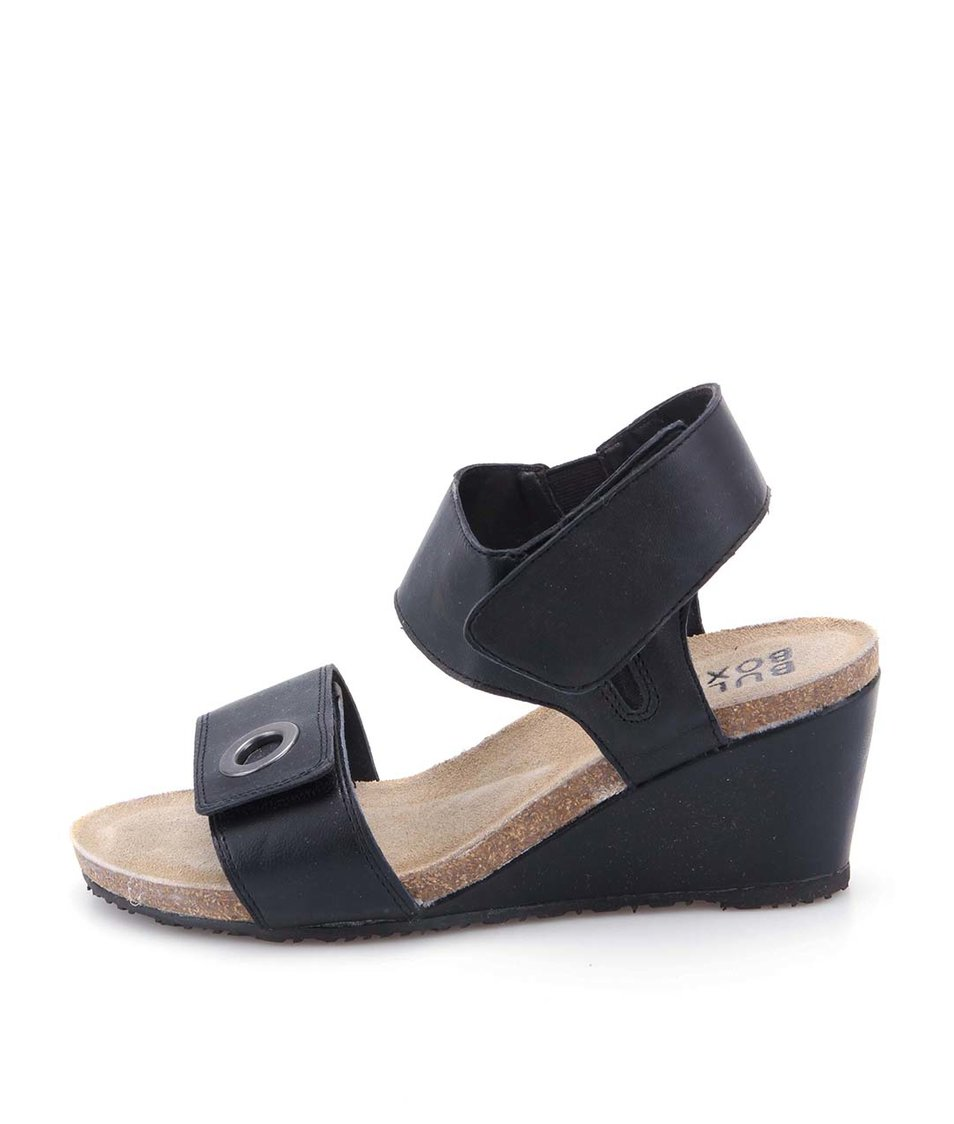 Černé kožené sandálky na klínku Bullboxer