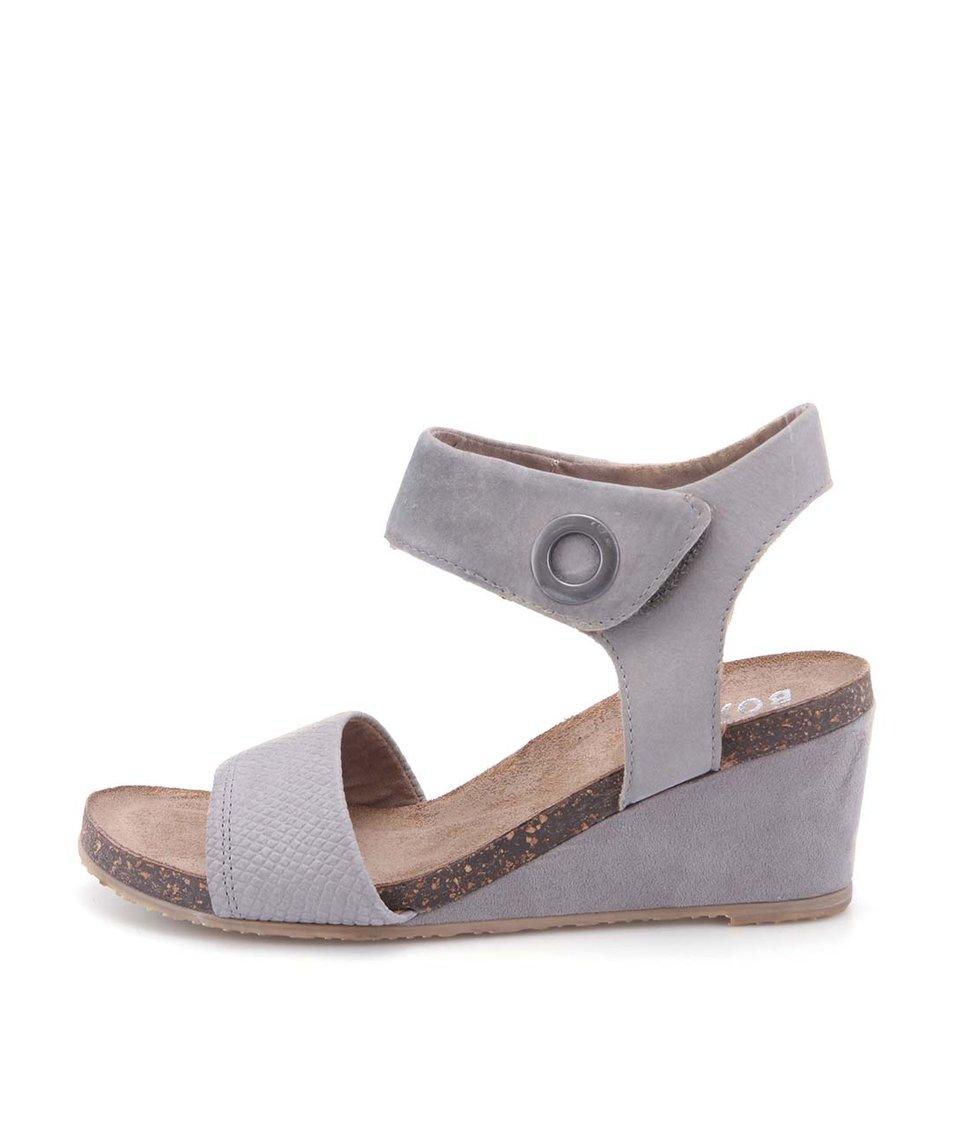 Šedé kožené sandálky na klínku na suchý zip Bullboxer