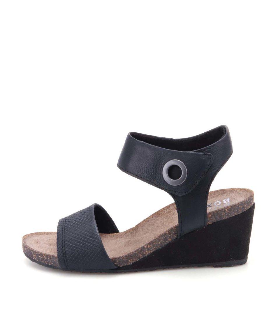Černé kožené sandálky na klínku na suchý zip Bullboxer