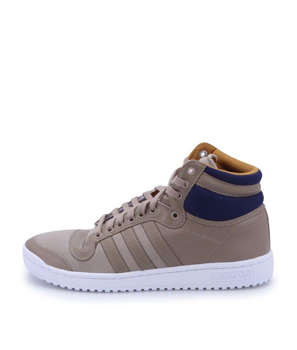 Béžové pánské kožené kotníkové tenisky adidas Originals Top Ten