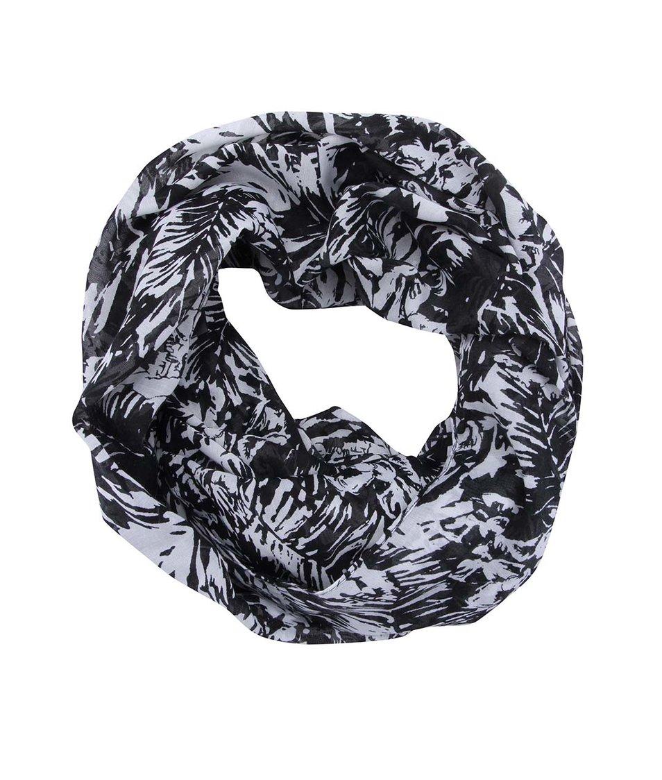 Černý vzorovaný dutý šátek Pieces Nyx