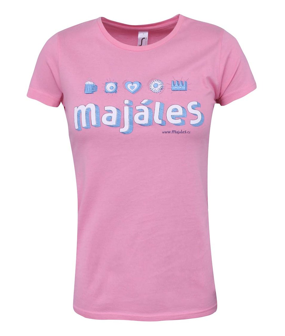Růžové dámské tričko Majáles