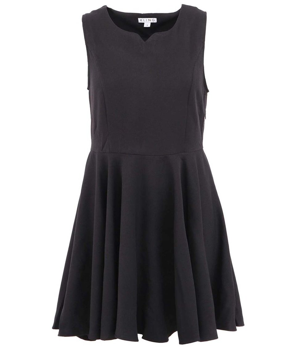 Černé šaty s korálky na zádech Kling Lucile