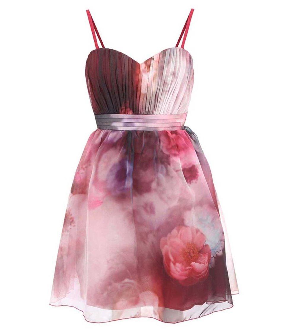 Červené květované šaty s řasením v horní části Little Mistress