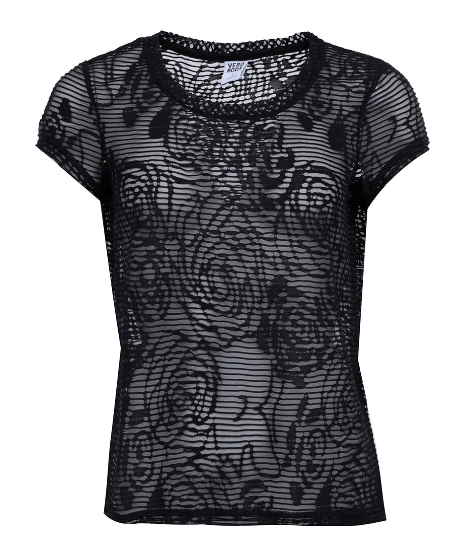 Černý transparentní top Vero Moda Glow