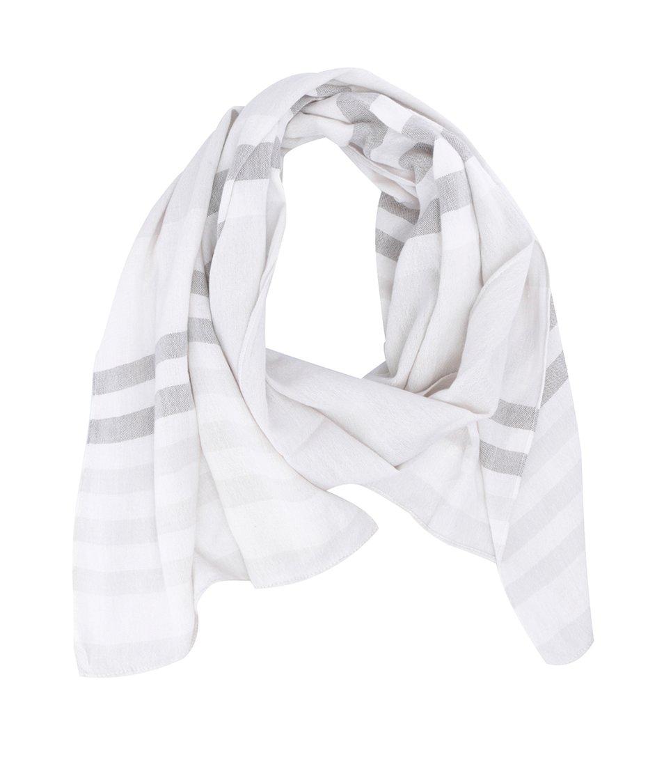 Krémový pruhovaný šátek Selected Pacific
