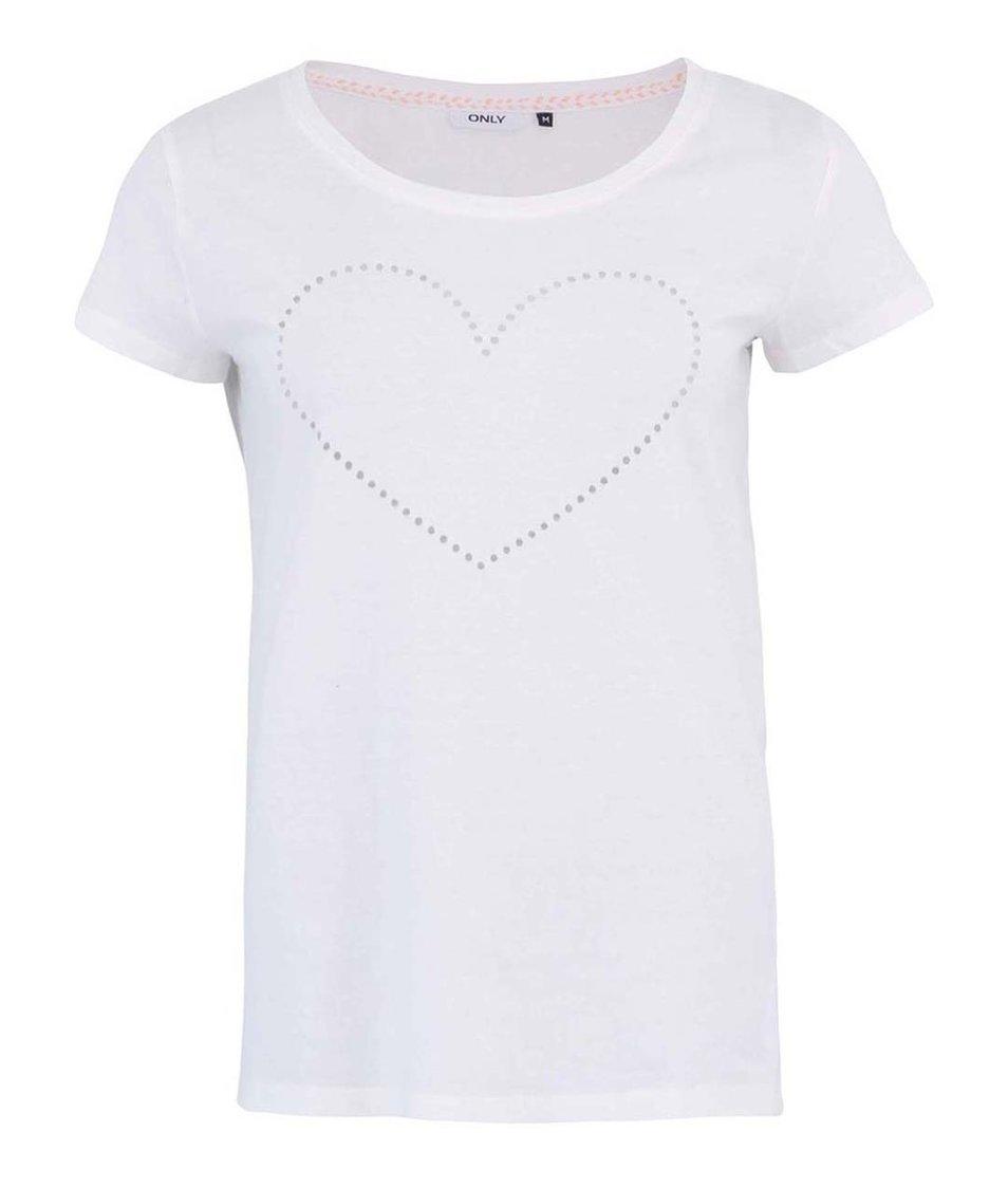Bílé tričko s krátkým rukávem ONLY Heart