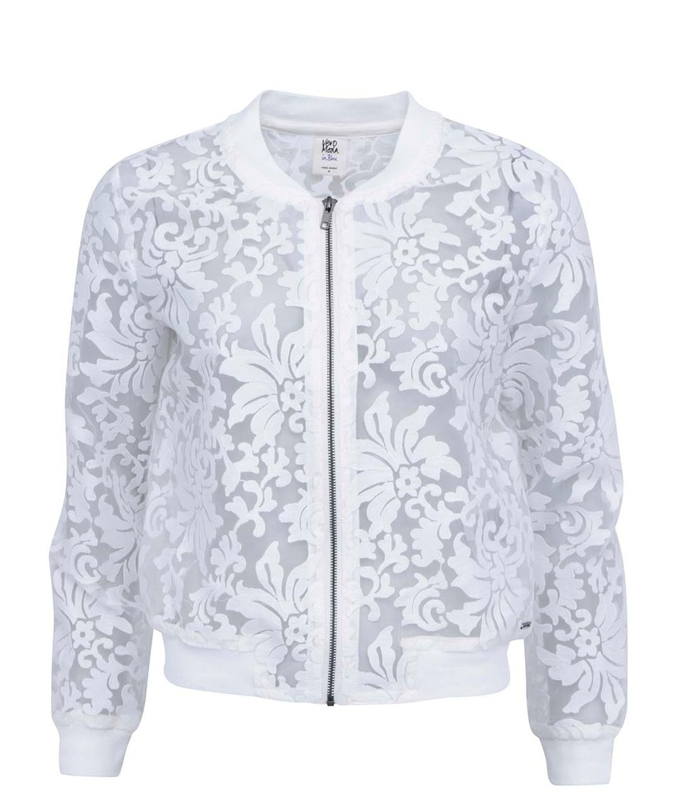 Bílý transparentní bomber s květinovým motivem  Vero Moda Lisa