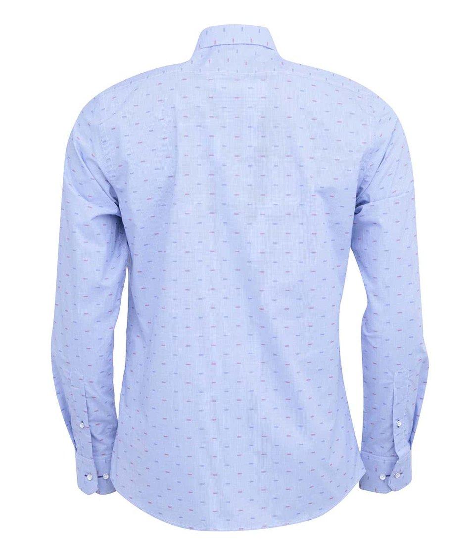 Světle modrá kostkovaná košile se vzorem Bertoni Slim Fit