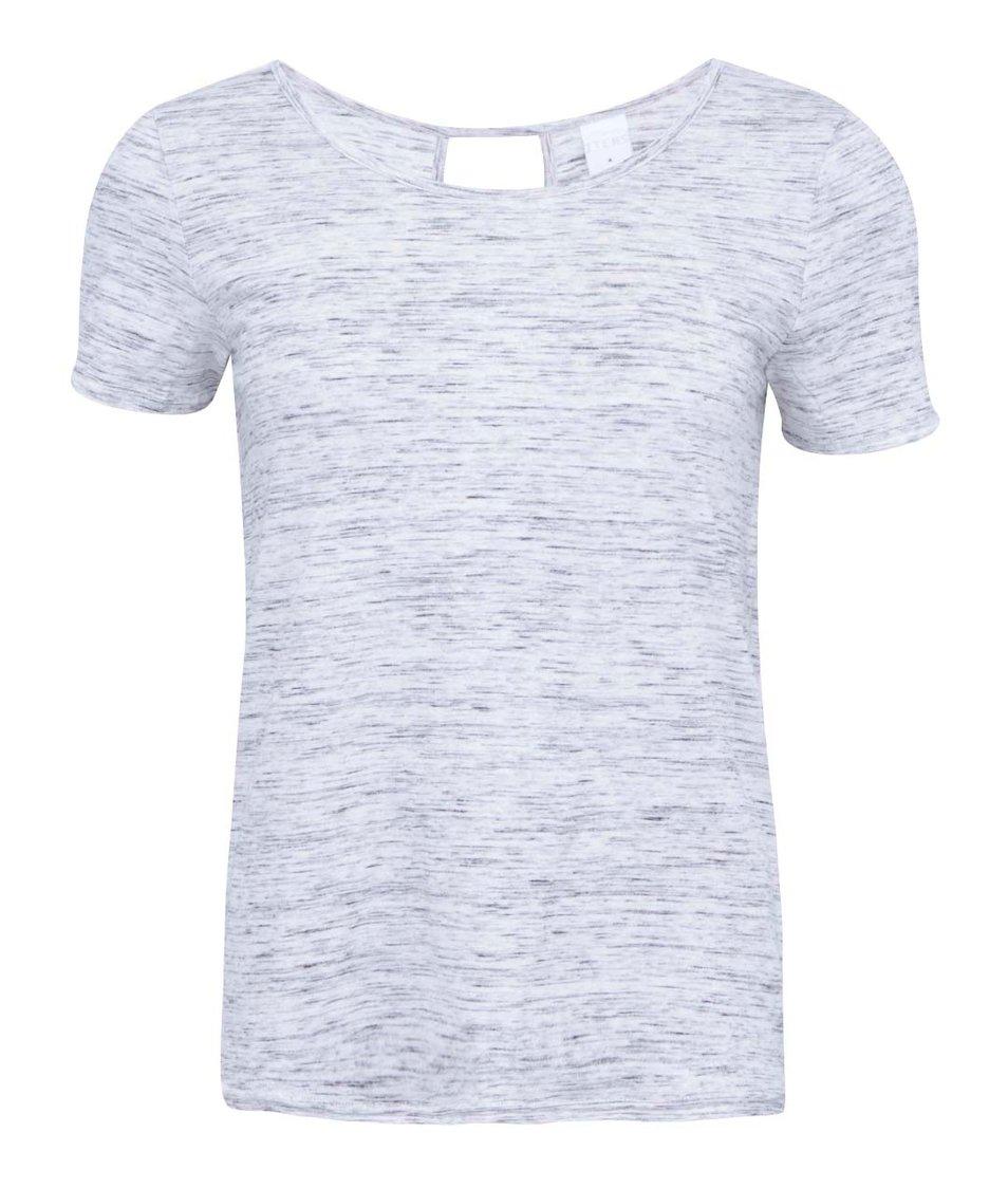 Světle šedé žíhané tričko s průstřihem na zádech Vero Moda Sparrow