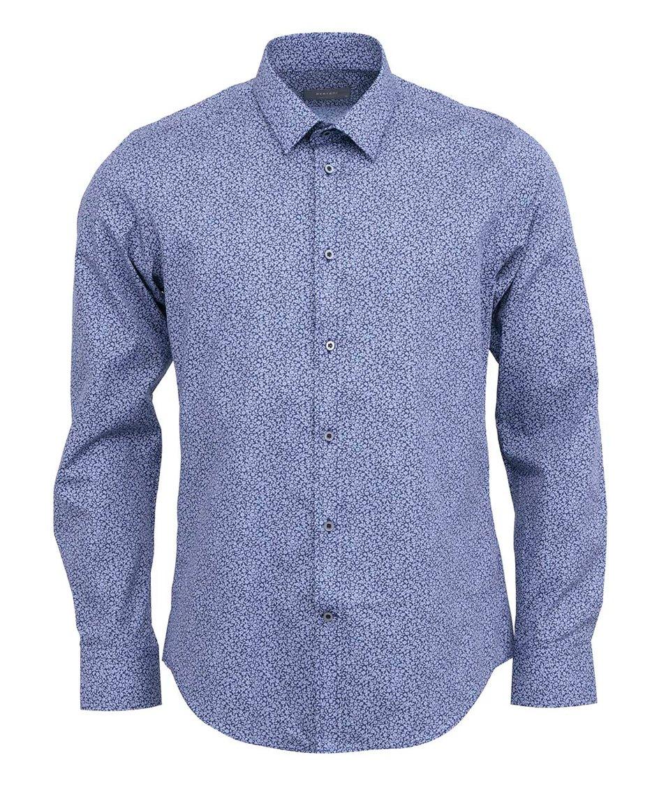 Modrá košile s květovaným vzorem Bertoni Slim Fit