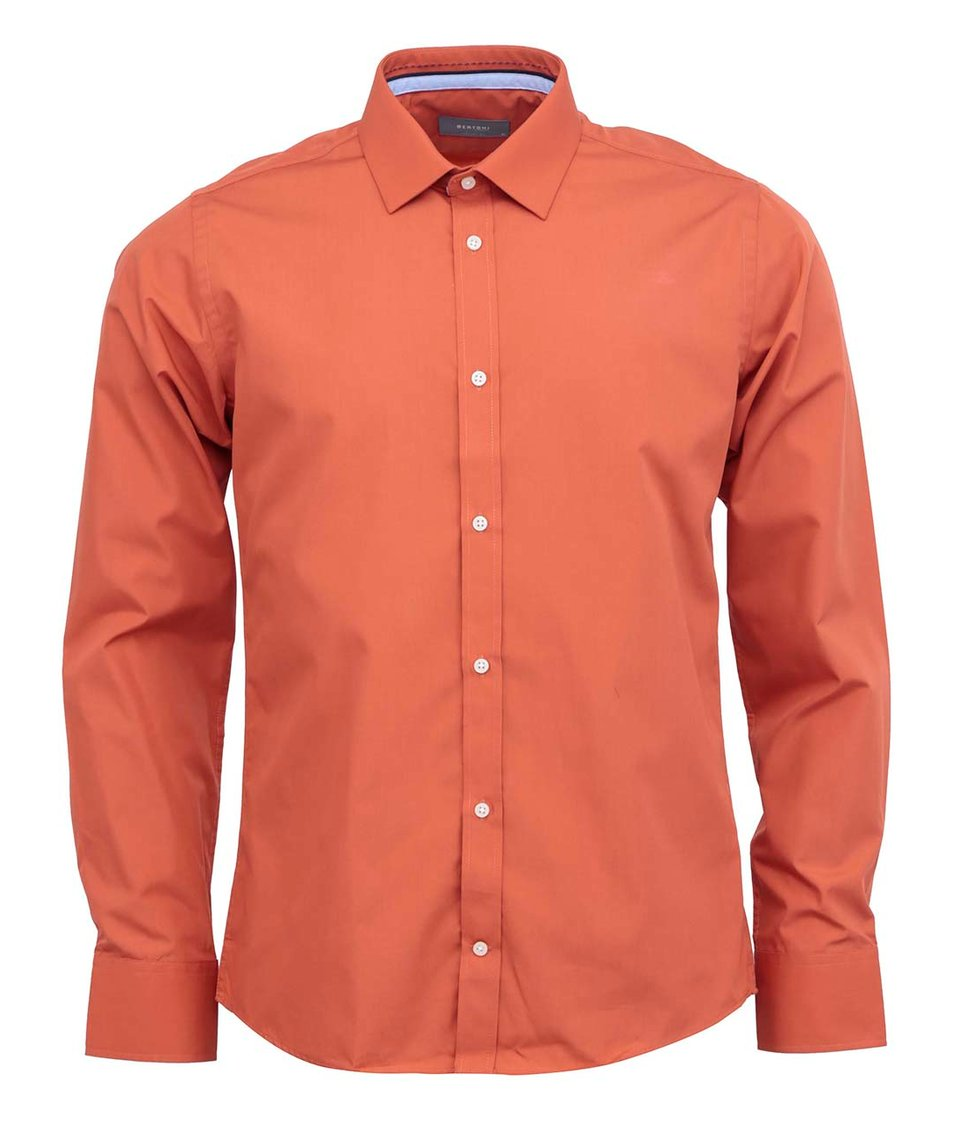 Tmavě oranžová klasická košile Bertoni Slim Fit