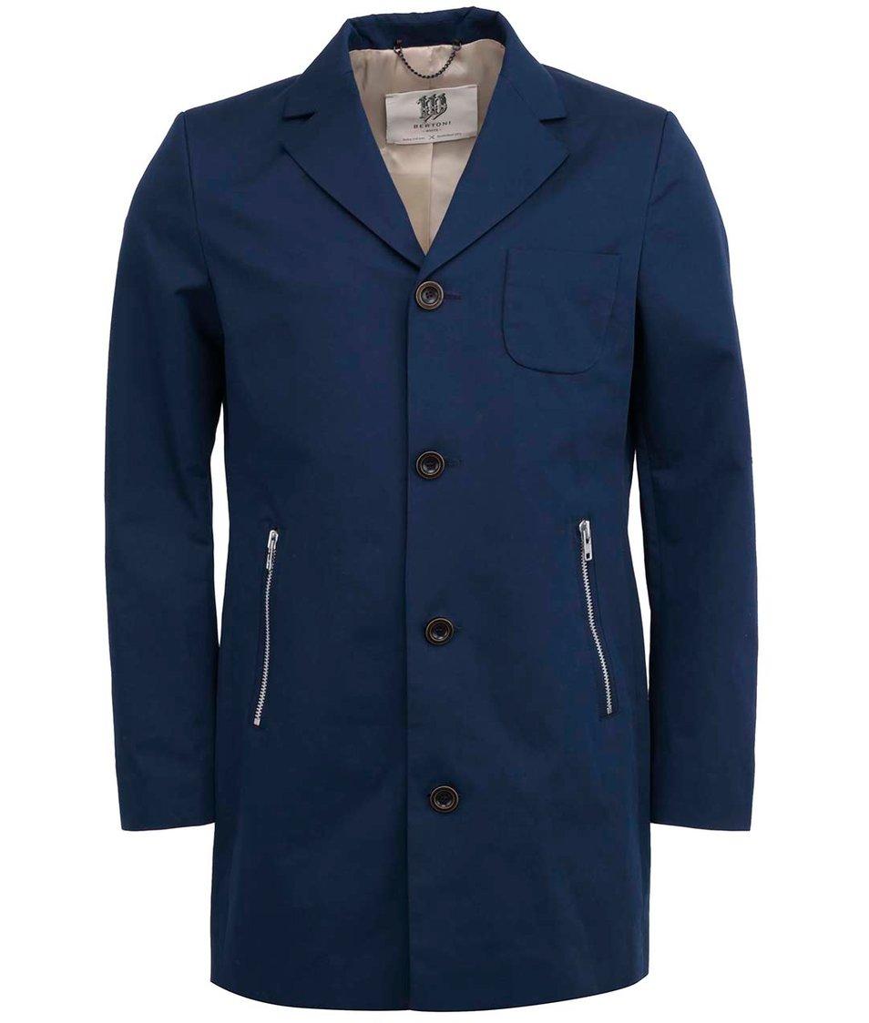 Tmavě modrý pánský elegantní kabát Bertoni