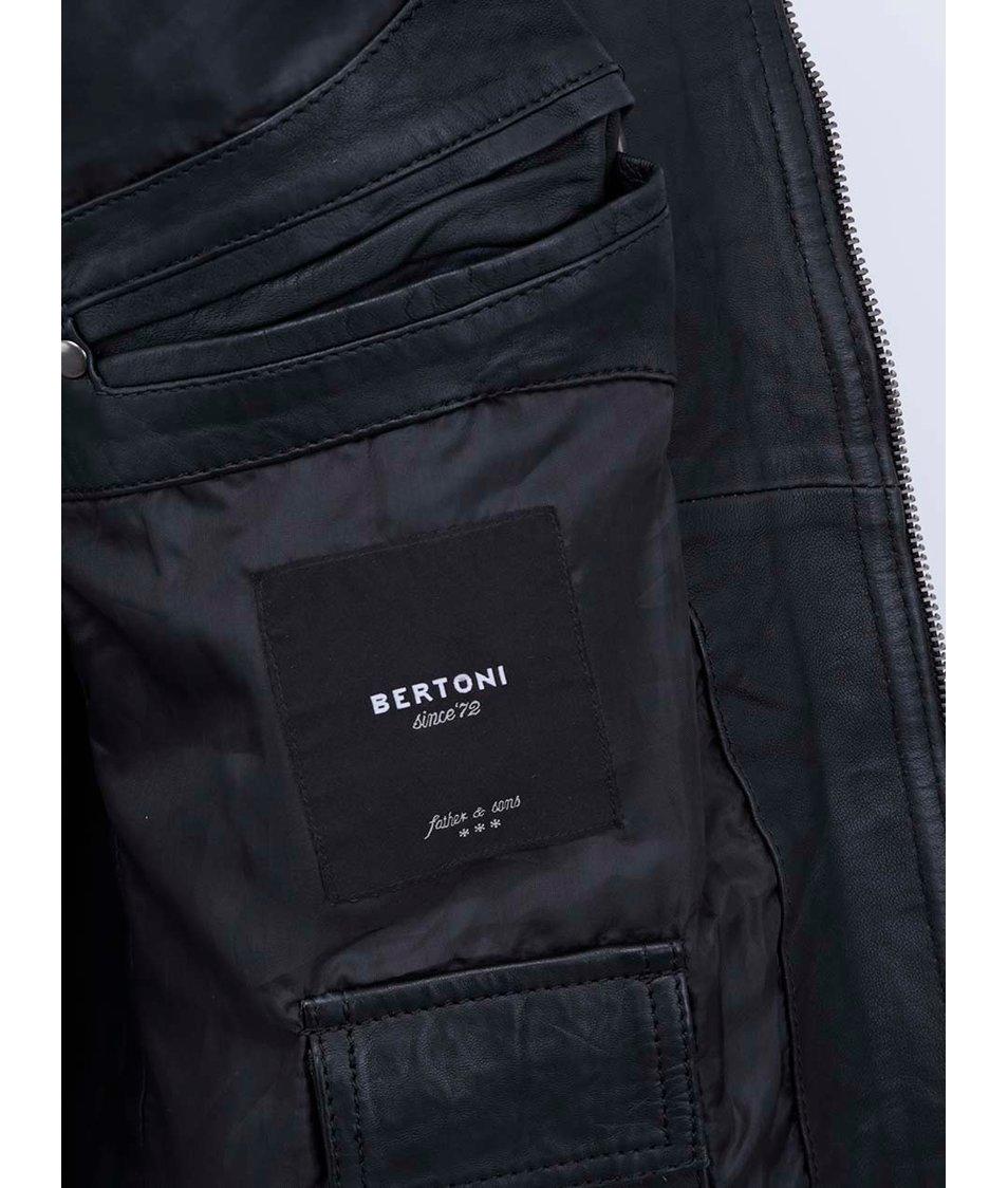 Černá pánská kožená bunda Bertoni