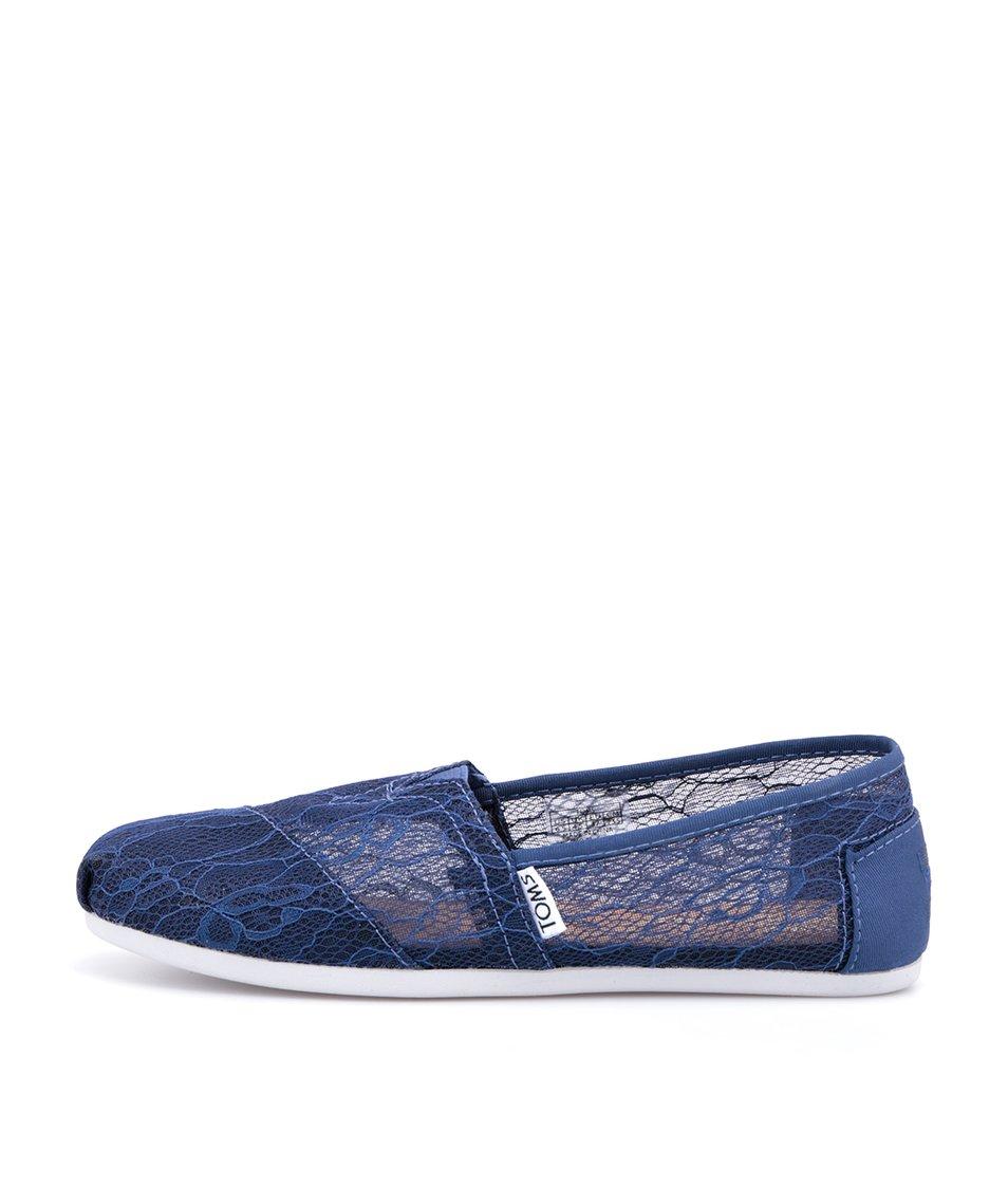 Tmavě modré dámské krajkované loafers Toms Lace