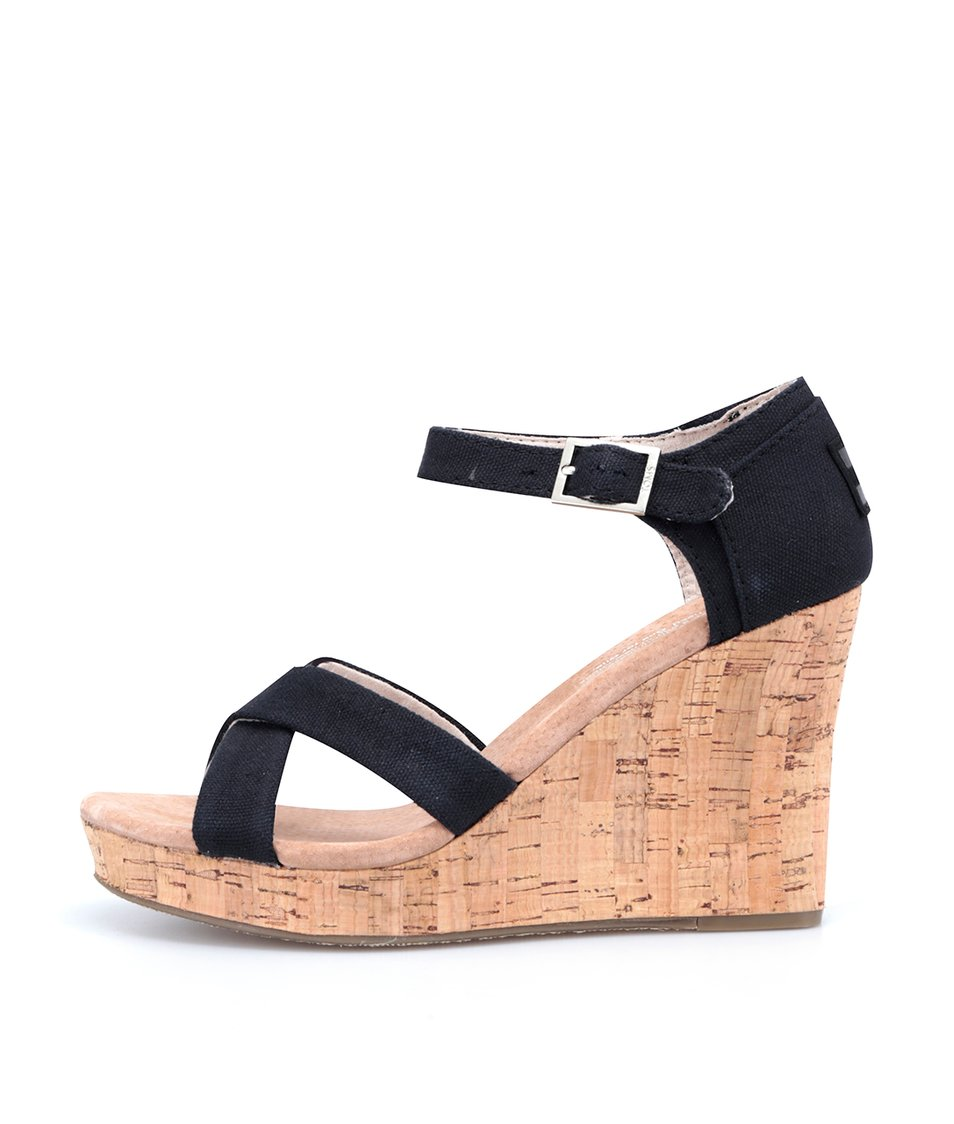 Černé sandálky na klínku Toms Cork