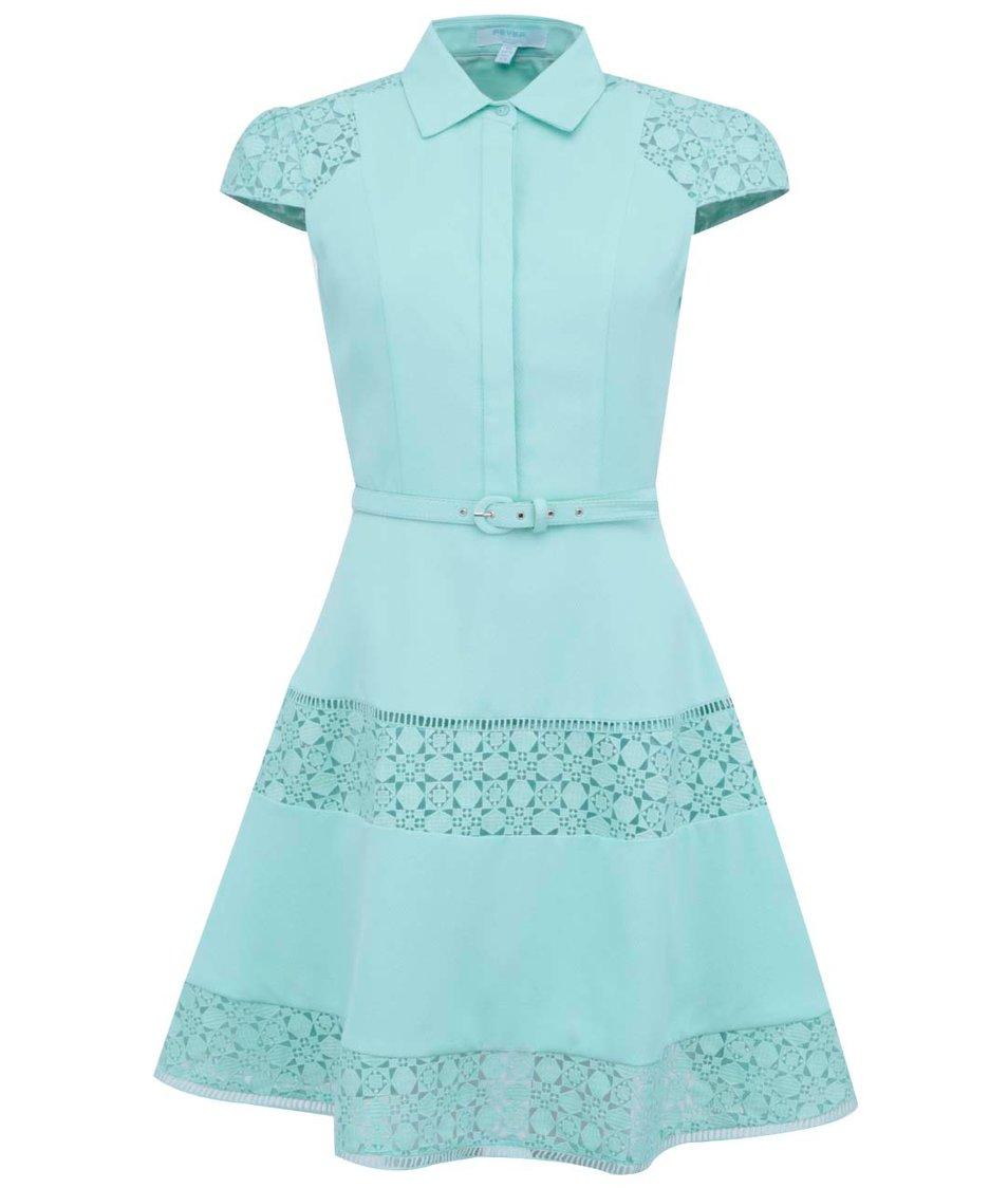 Mentolové šaty s límečkem Fever London Lottie