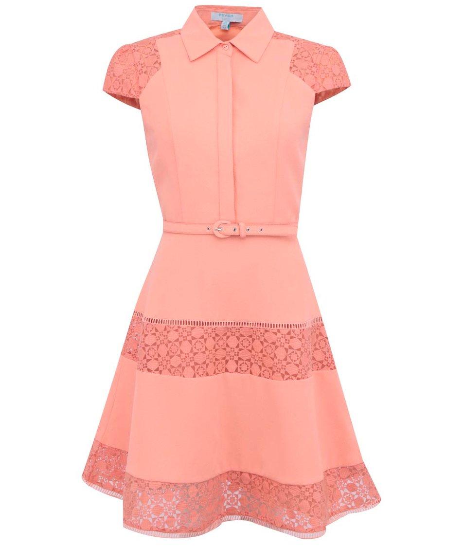 Oranžové šaty s límečkem Fever London Lottie