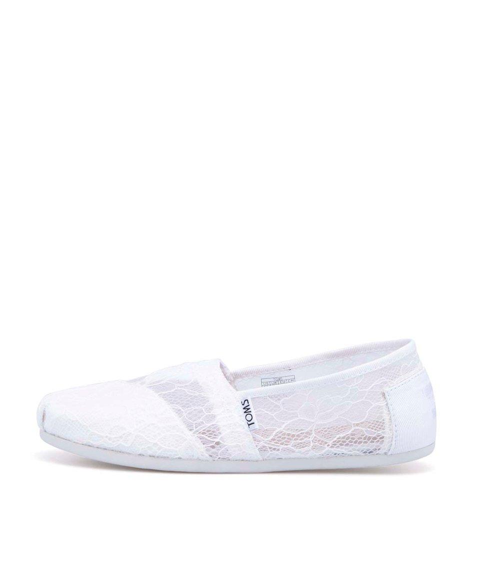 Bílé dámské krajkované loafers Toms Lace