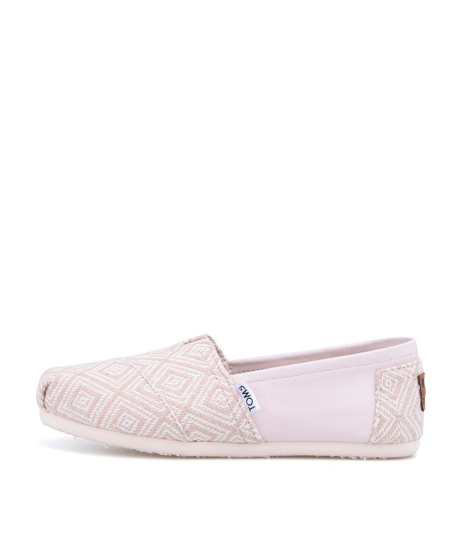 Růžovo-béžové dámské vzorované loafers Toms Diamond