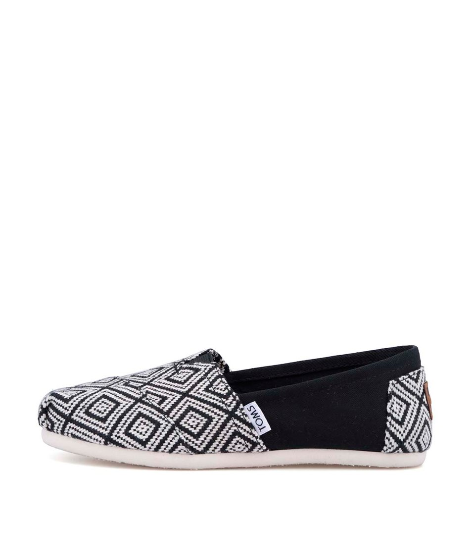 Krémovo-černé dámské vzorované loafers Toms Diamond