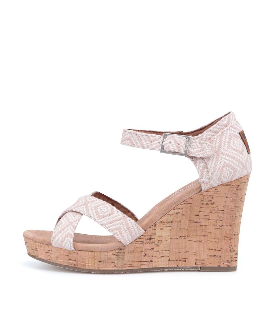 Krémovo-béžové vzorované sandálky na klínku Toms Diamond