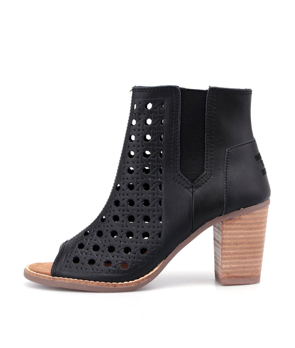 Černé dámské kožené perforované boty Toms Majorca