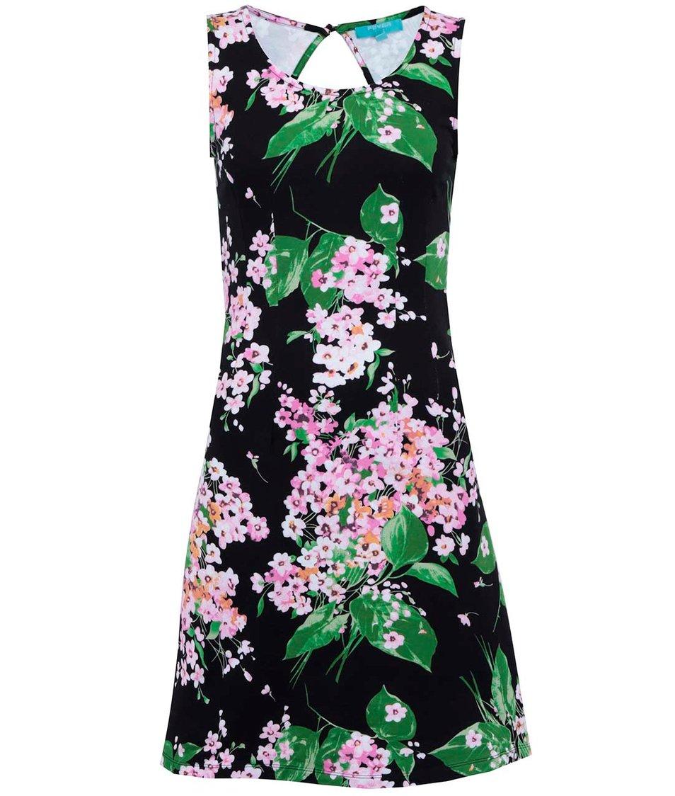 Černé šaty s květinovým potiskem Fever London Bahamas
