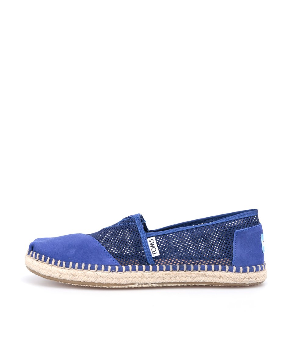 Modré dámské kožené perforované loafers Toms Mesh