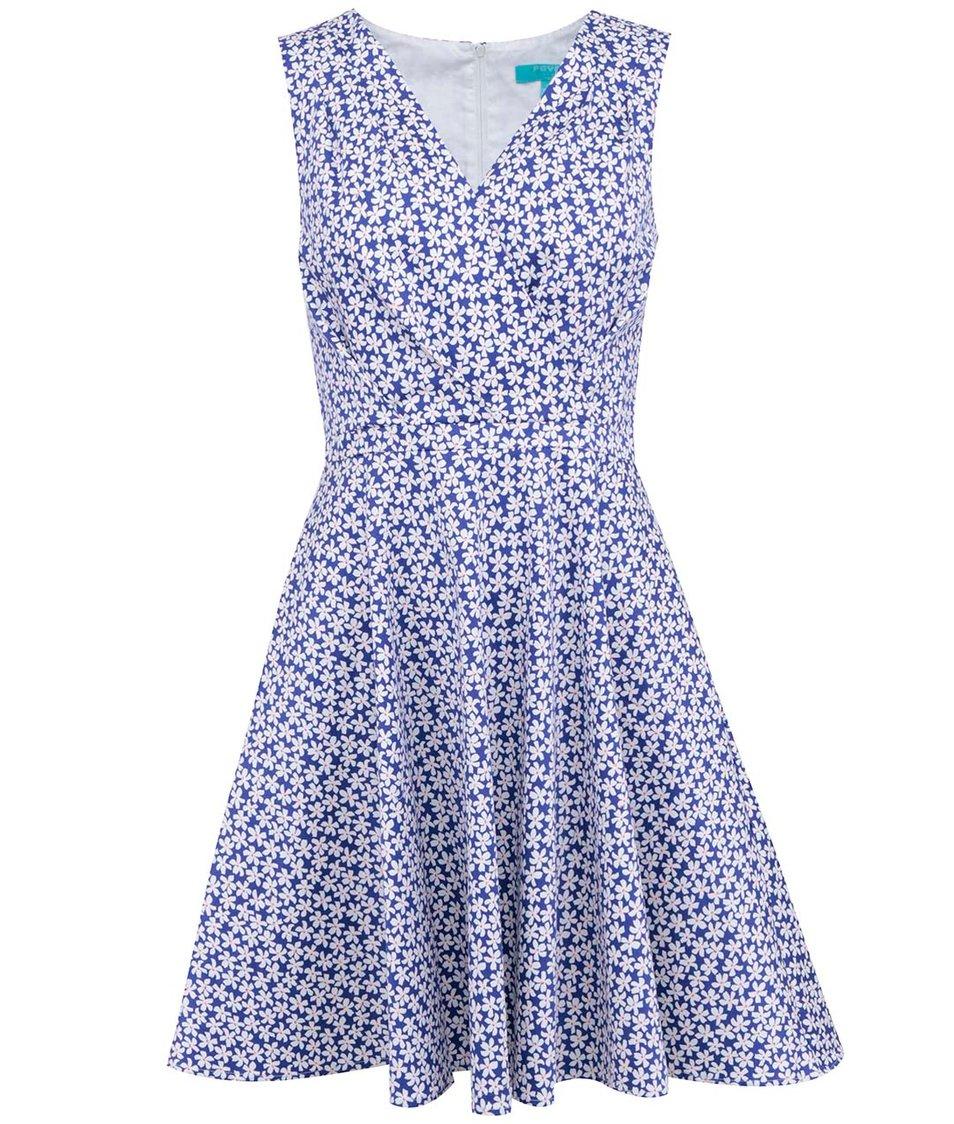 Modré šaty s květinovým potiskem Fever London Tiger Lilly