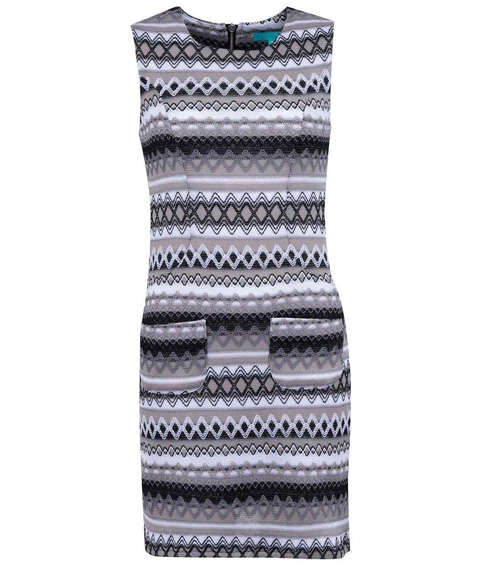 Černo-bílé vzorované šaty Fever London Kobi Shift