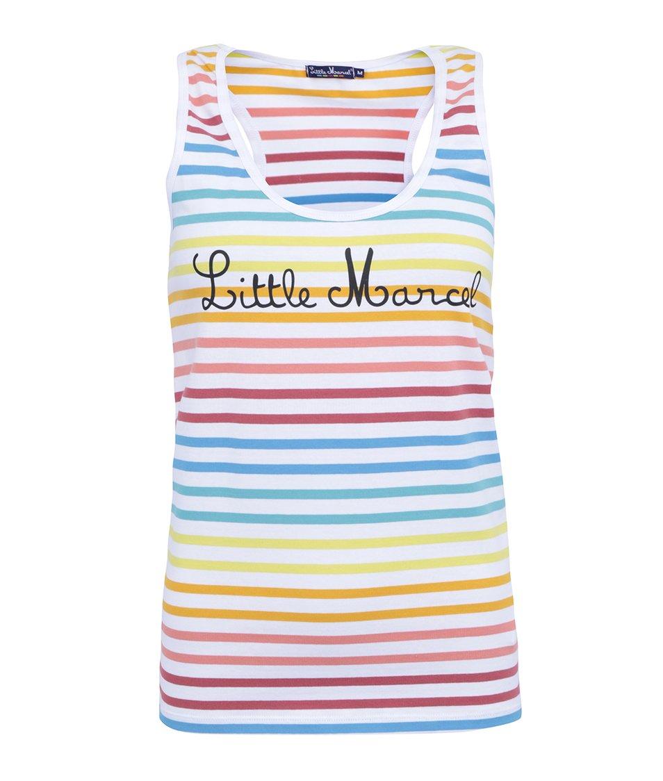 Bílé tílko s barevnými pruhy Little Marcel Nina