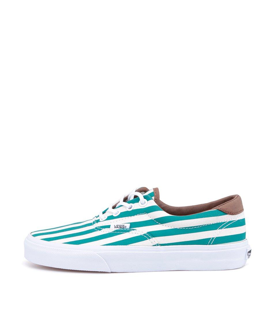 Zeleno-bílé pruhované dámské tenisky Vans Era 59