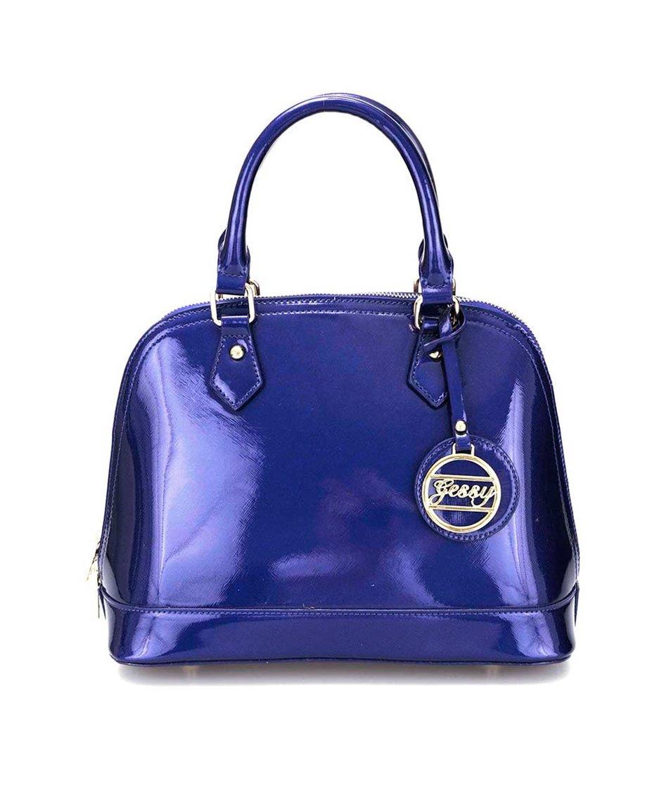 Modrá lakovaná kabelka s metalickým odleskem Gessy