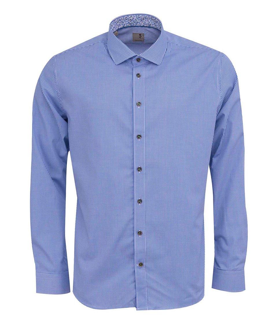 Modrá kostkovaná košile Seidensticker Joe Detail Slim Fit