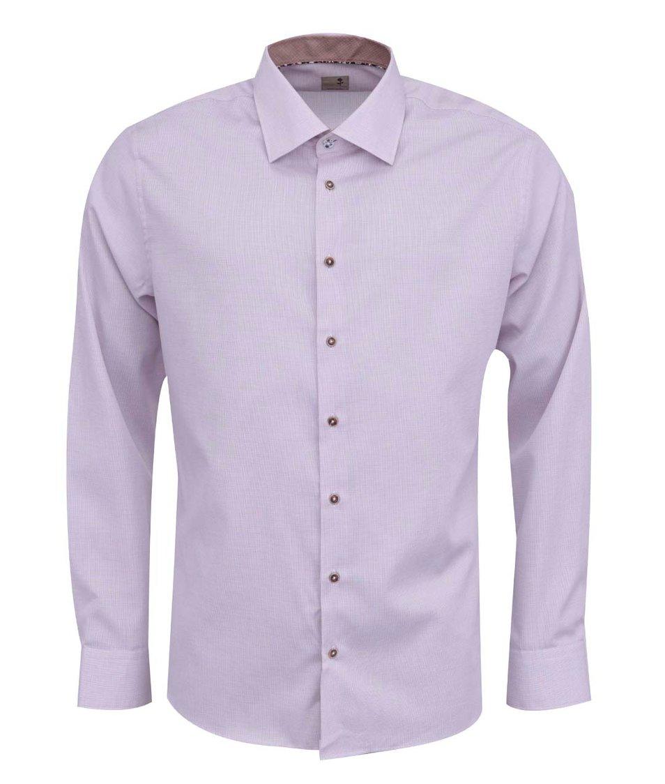 Světle růžová vzorovaná košile Seidensticker Paul Panel Patch Slim Fit