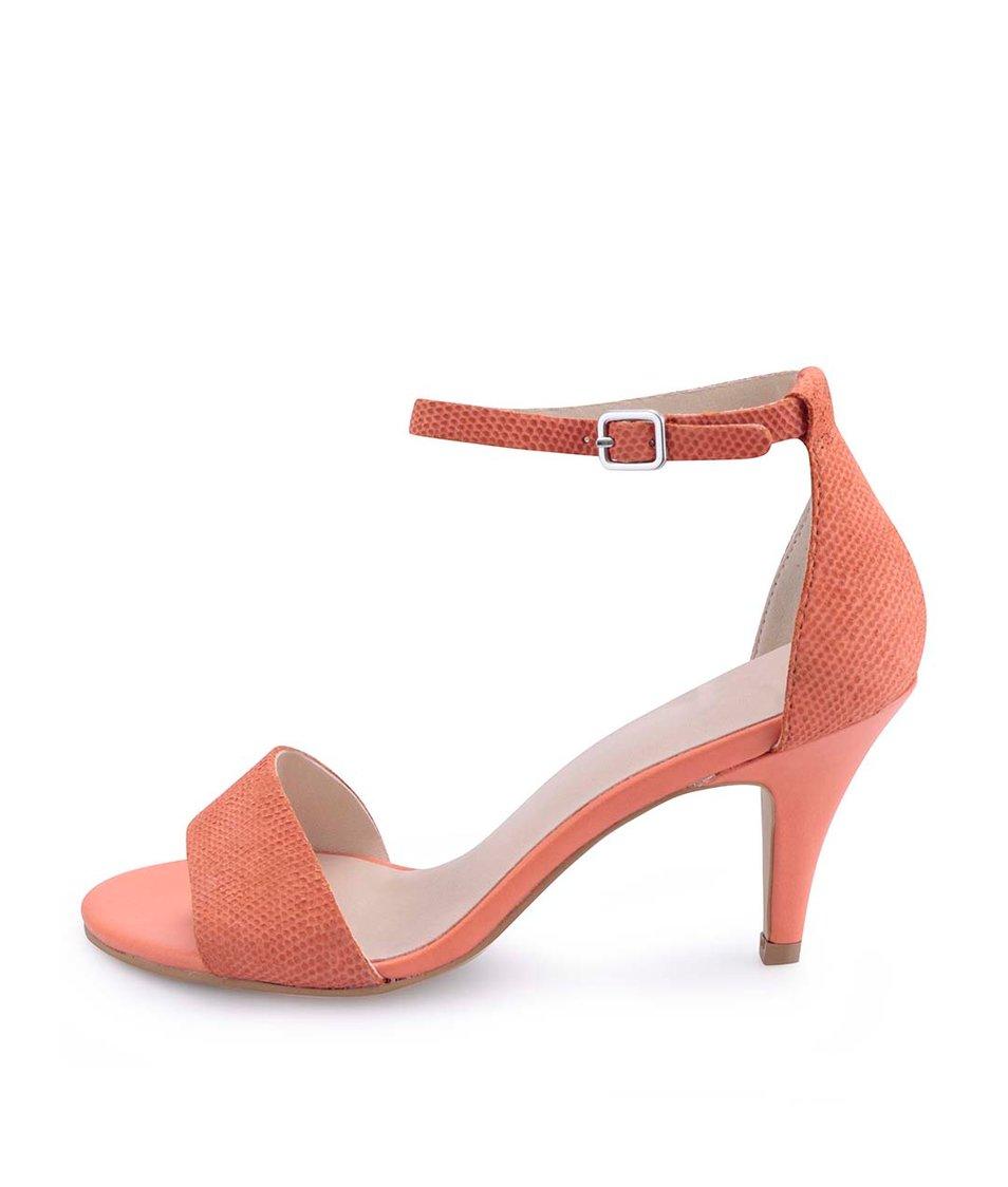 Korálové kožené sandálky na podpatku Vagabond Abbey