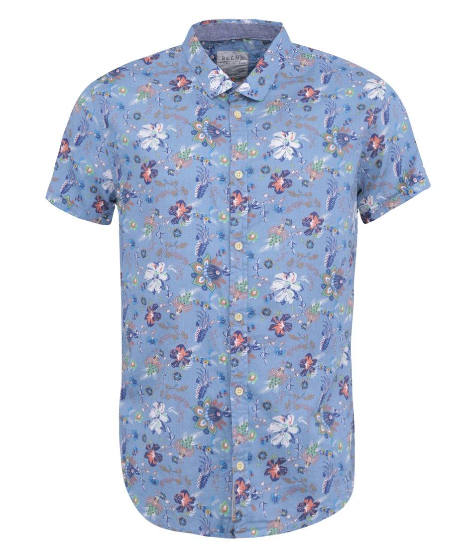 Modrá květovaná košile s krátkým rukávem Blend