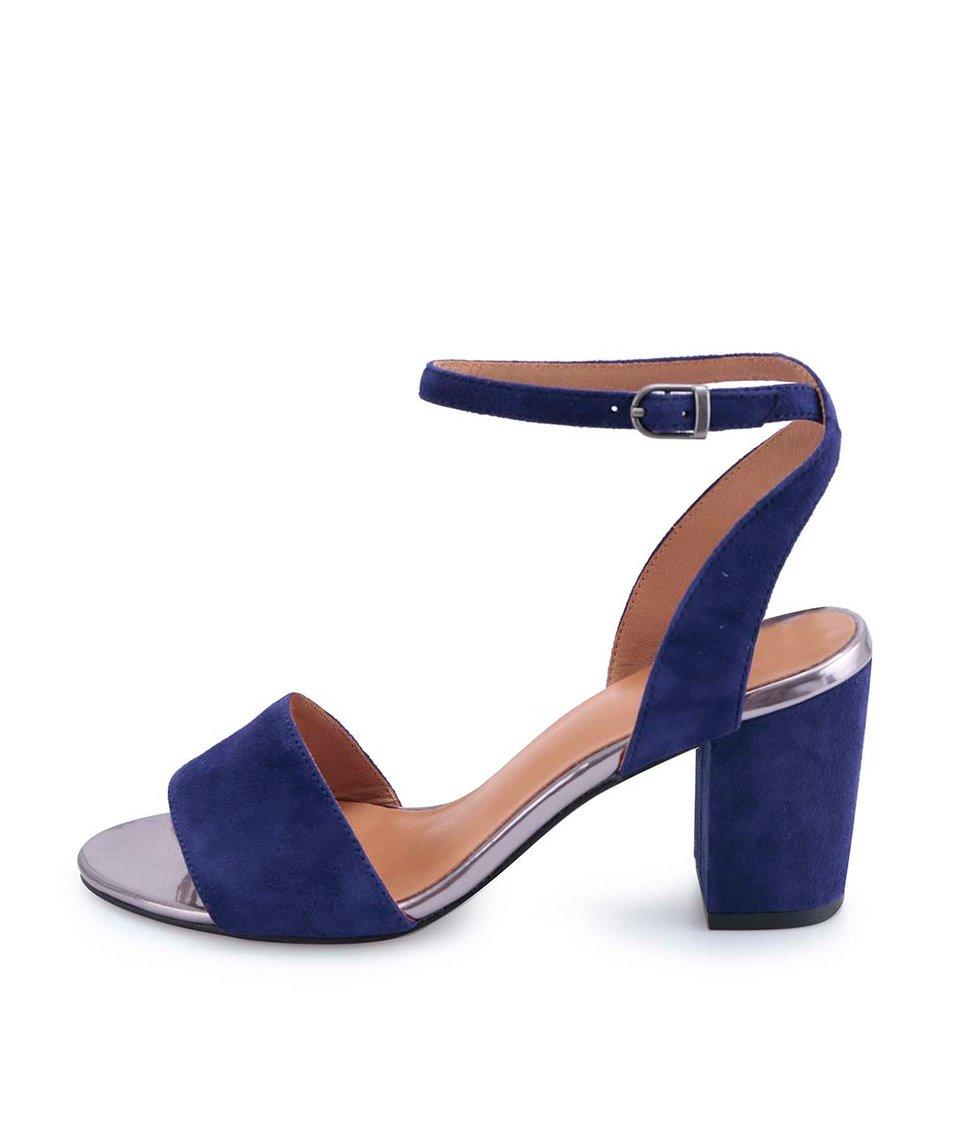 Tmavě modré kožené sandálky na podpatku Vagabond Scarlett