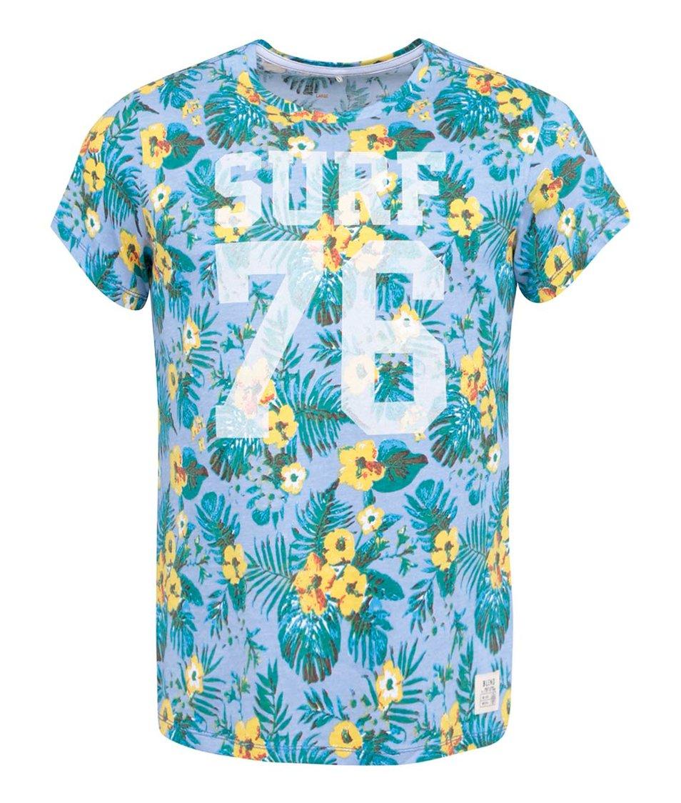 Světle modré triko s havajskými květy Blend