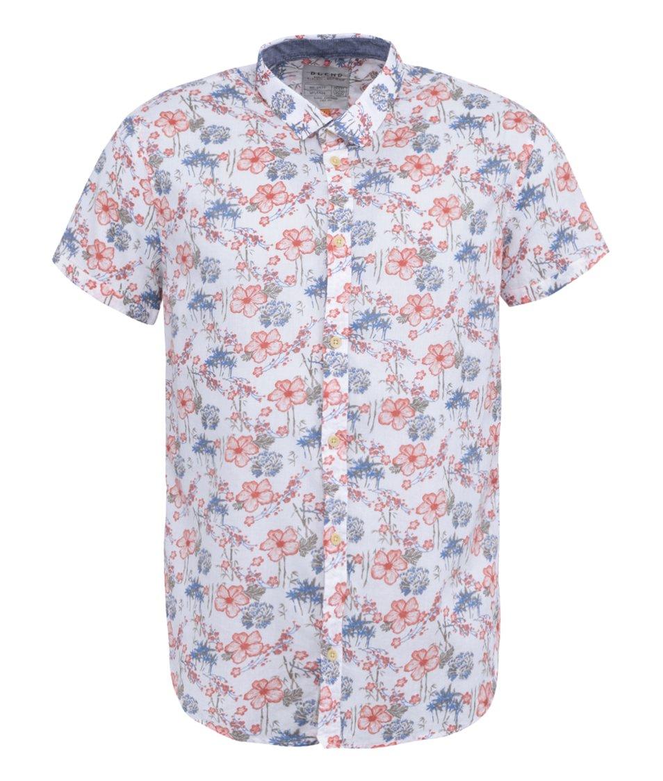 Bílá květovaná košile s krátkým rukávem Blend