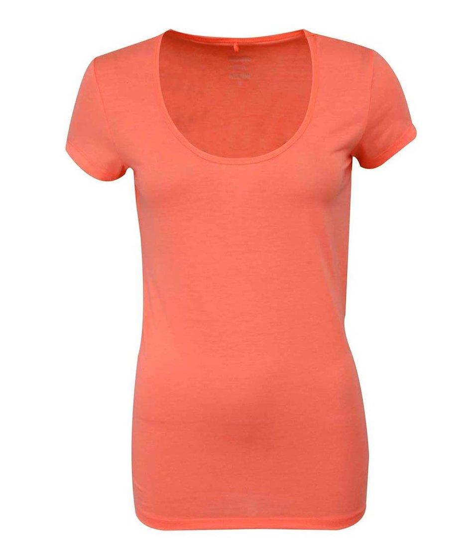 Neonové oranžové tričko s kulatým výstřihem ONLY Live Love