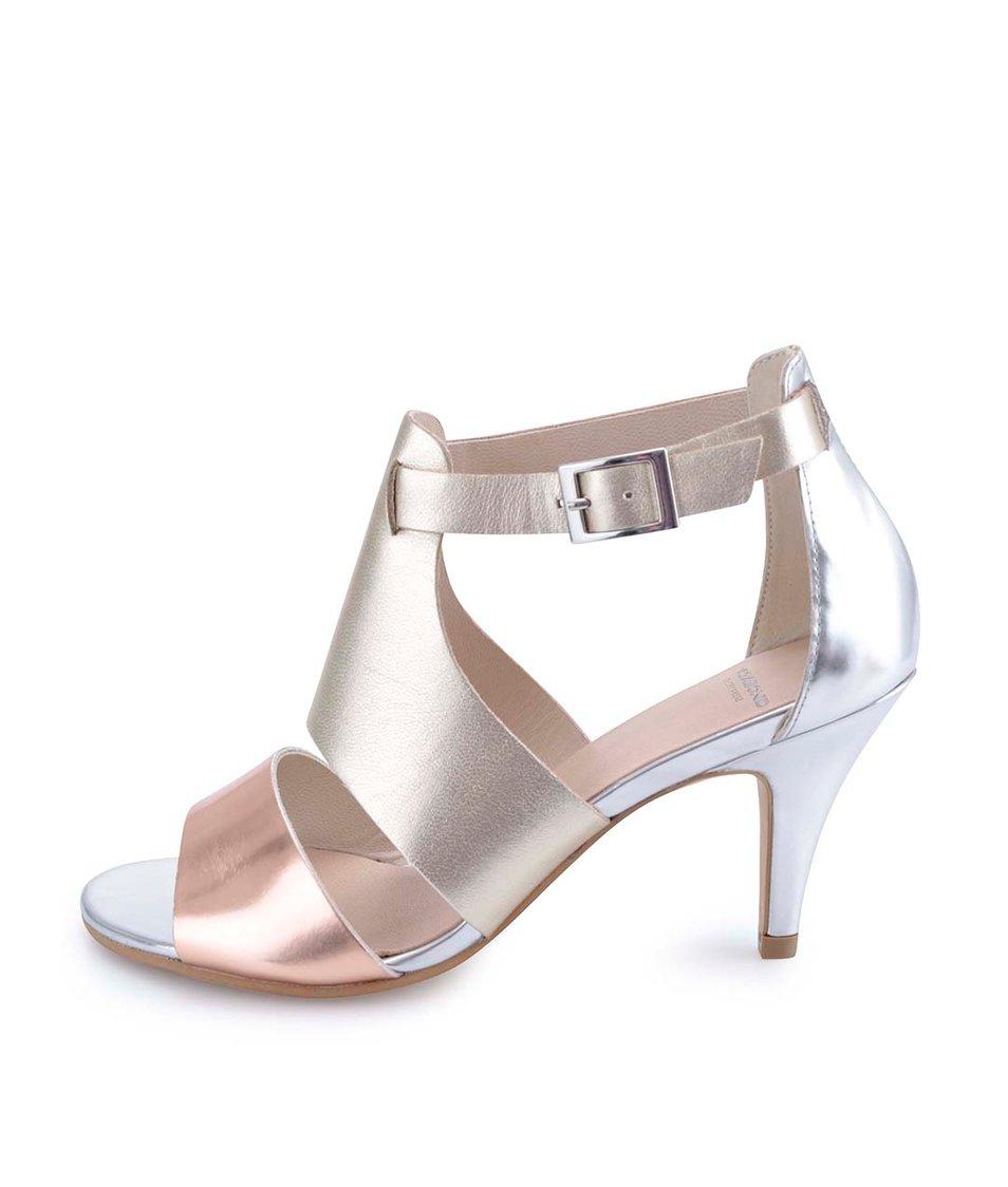 Metalické kožené sandálky na podpatku Vagabond Abbey