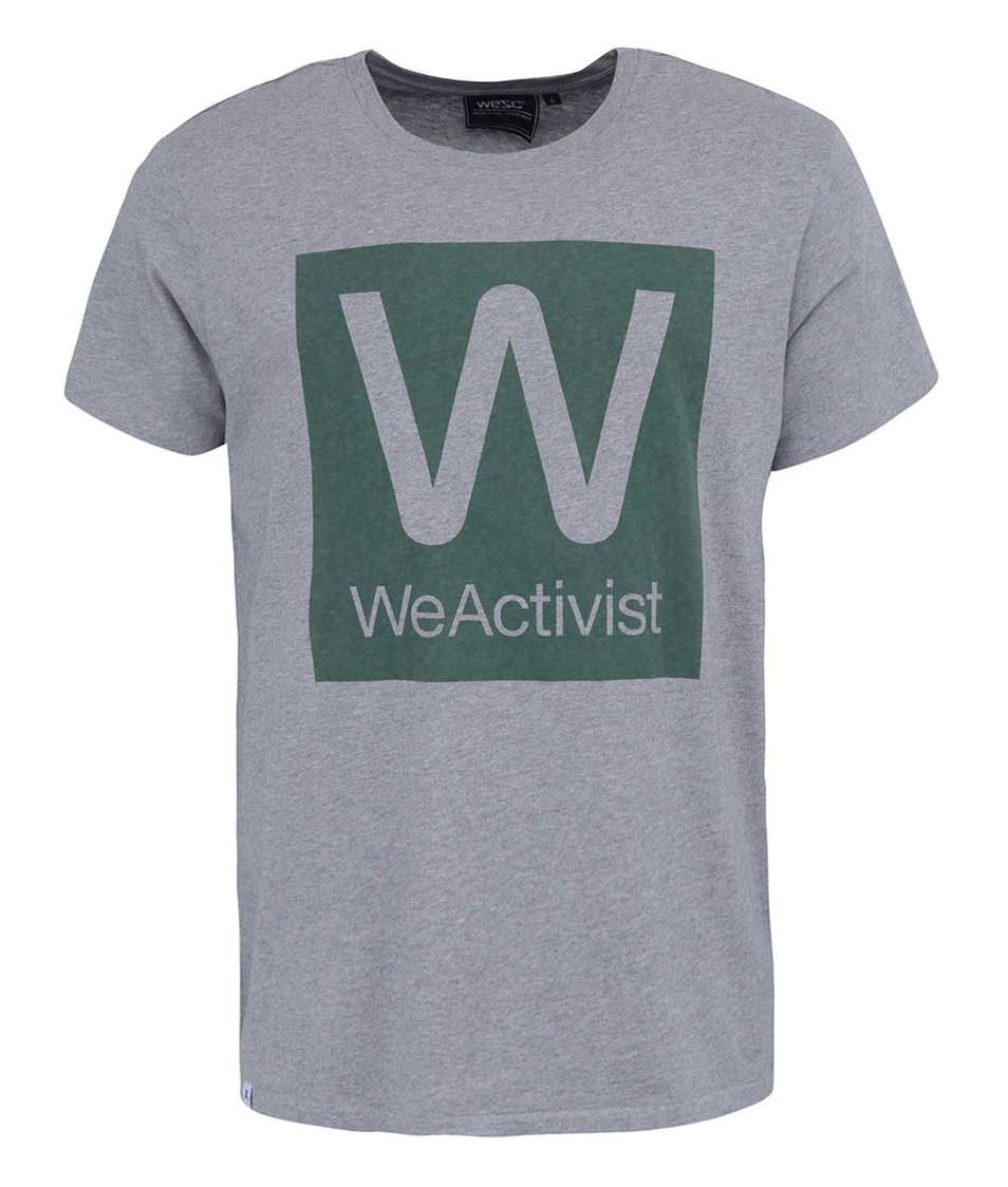 Šedé triko se zeleným potiskem WeSC We Activist