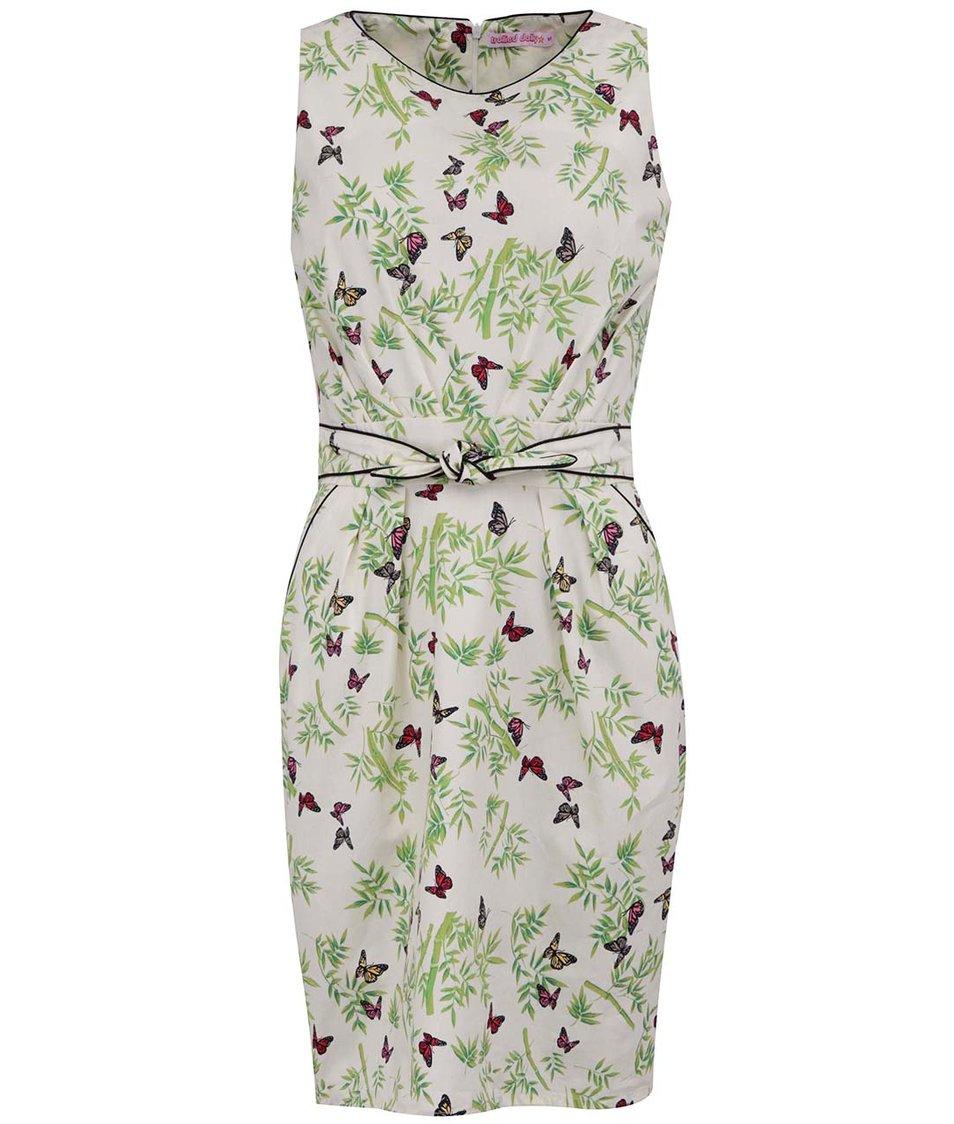 Krémové šaty s motýlky Trollied Dolly Sunday Best