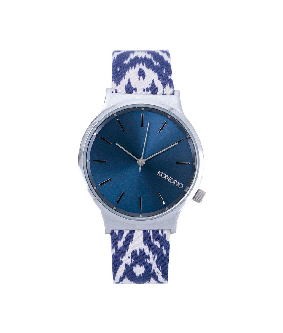 Bílo-modré unisex hodinky Komono Wizard Batik Blues