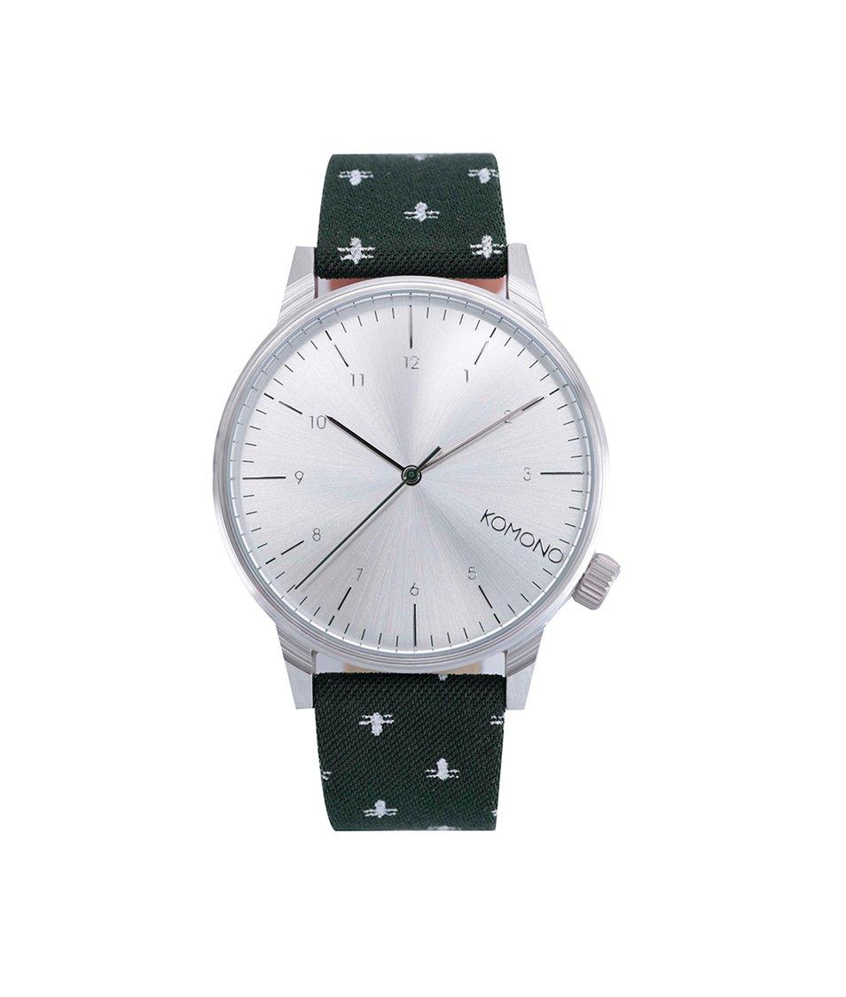 Tmavě zelené unisex hodinky Komono Winston Bumblebee