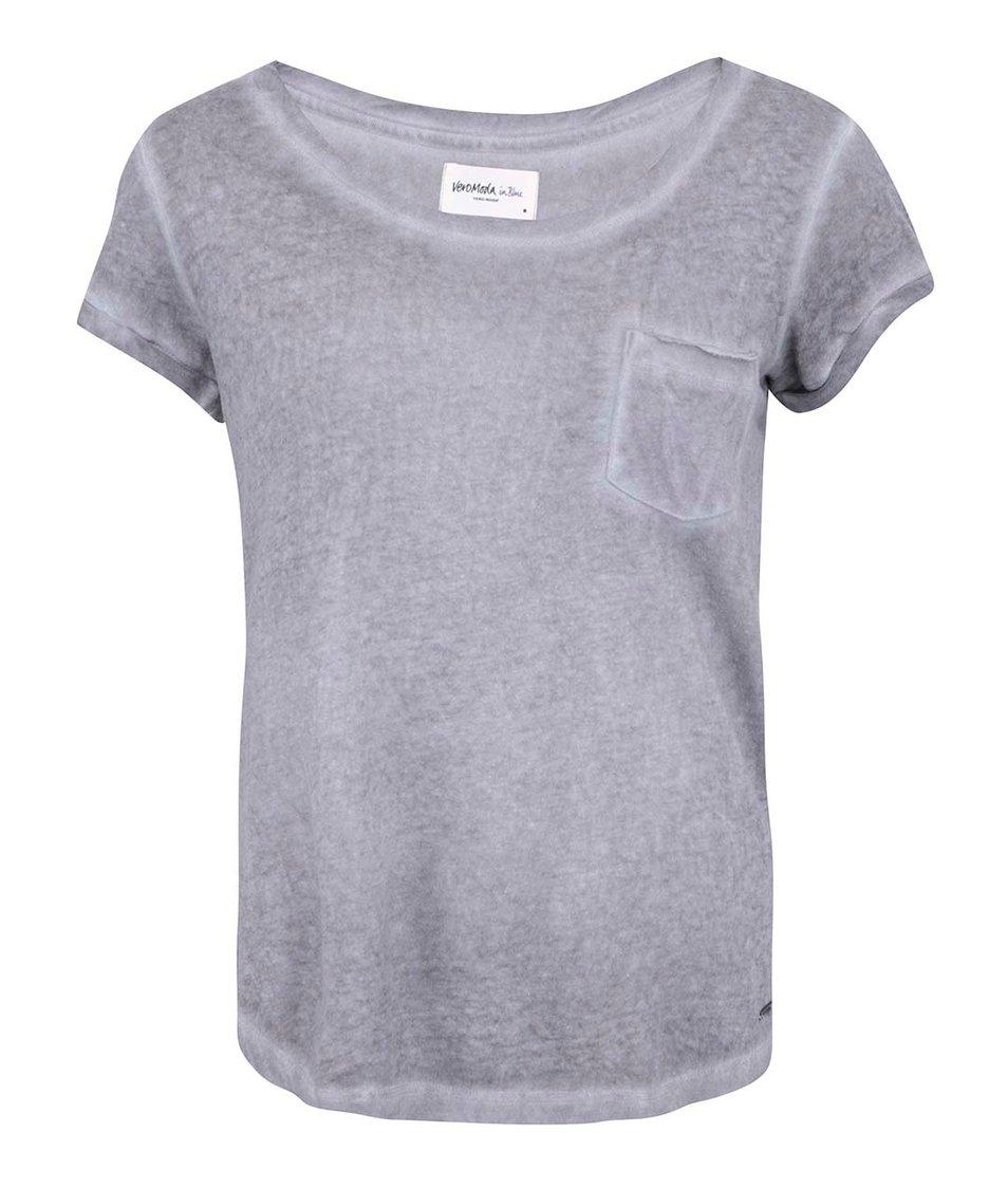 Šedé tričko s kapsičkou Vero Moda Irma