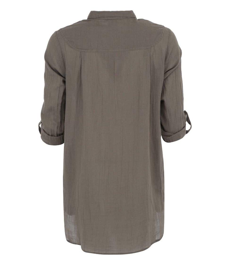 Khaki delší košile s 3/4 rukávy Vero Moda Rinna